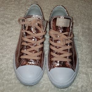 Adorable pink glitter converse sneakers size 5